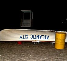Waiting for the Rescue Call, Life Guard Boat on Beach, Atlantic City, NJ by Jane Neill-Hancock
