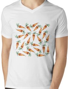 Cute and Funny Watercolor Carrot with Sunglasses Mens V-Neck T-Shirt