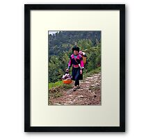 Yao Lady Carrying Goods for Sale Framed Print
