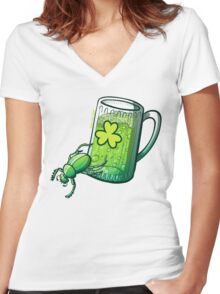 Saint Patrick's Day Beetle Women's Fitted V-Neck T-Shirt