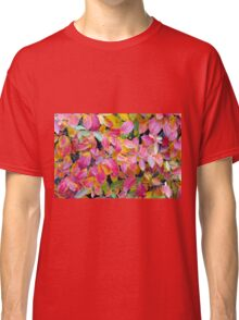 Background of vivid red leaves of autumn bush close-up Classic T-Shirt