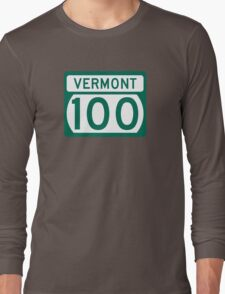 Route 100 Sign, Vermont, USA Long Sleeve T-Shirt