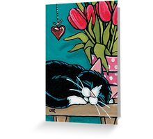 With a Hanging Heart Greeting Card