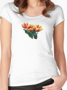 Three Orange and Red Tulips Women's Fitted Scoop T-Shirt