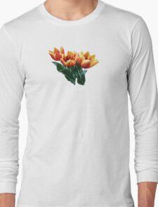 Three Orange and Red Tulips Long Sleeve T-Shirt