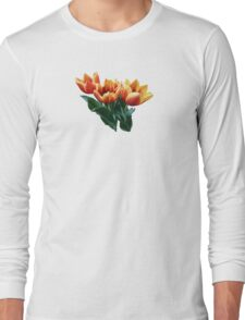 Three Orange and Red Tulips Long Sleeve T-Shirt