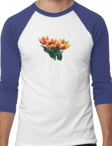 Three Orange and Red Tulips Men's Baseball ¾ T-Shirt
