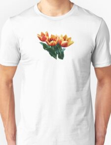 Three Orange and Red Tulips Unisex T-Shirt