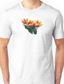 Three Orange and Red Tulips Unisex T-Shirt