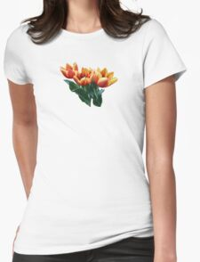 Three Orange and Red Tulips Womens Fitted T-Shirt