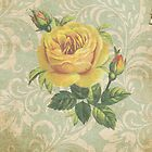 Vintage Yellow Rose by CalicoCollage