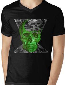 Green Skull - Funny Skull #2 T-shirt Mens V-Neck T-Shirt