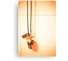 It Goes Around My Neck  - Hanging Whistle Against Textured Ceramic Tiles Canvas Print