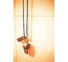 It Goes Around My Neck  - Hanging Whistle Against Textured Ceramic Tiles Photographic Print