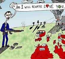 President Assad's Ode to Whitney Houston editorial cartoon by bubbleicious