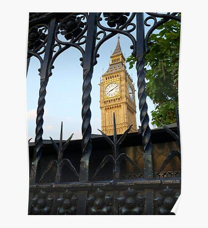 Big Ben through railings  Poster