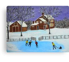 Winter fun on the farm Canvas Print
