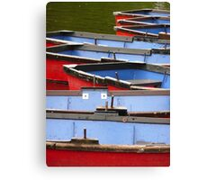 Arty shot of row boats Canvas Print