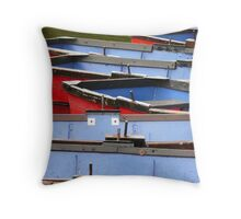 Arty shot of row boats Throw Pillow