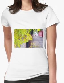 Ash tree with yellow leaves and pavement tiles Womens Fitted T-Shirt