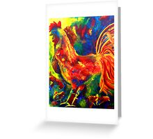 Colorful Rooster and Baby Chick Greeting Card