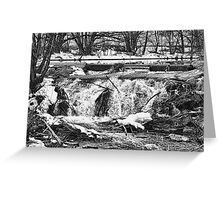 Saint Vrain River Waterfall Black and White Greeting Card