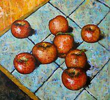 apples on tile by Wayne  Womac
