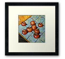 apples on tile Framed Print