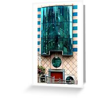 Buildings reflected in building Greeting Card