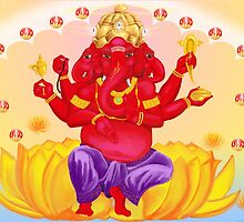 Trimukha Ganesha, the three faced diety by Ganeshalove