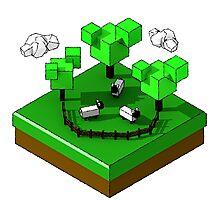 Isometric island frame - Sheep Photographic Print