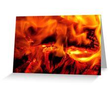 burning log fire Greeting Card