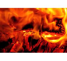 burning log fire Photographic Print
