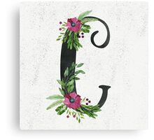 Monogram C with Floral Wreaths Canvas Print