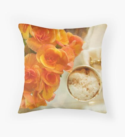flowers and coffee Throw Pillow