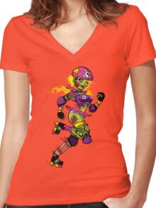 Zombie Derby Doll Women's Fitted V-Neck T-Shirt