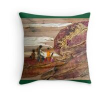 Family Walk on Hill Throw Pillow