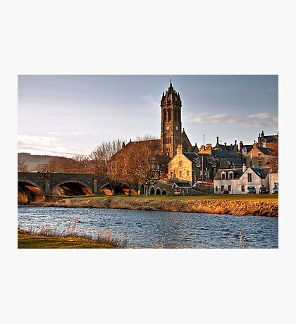 Peebles Old Parish Church by the River Tweed Photographic Print