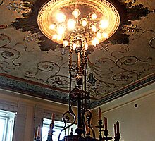 Full Length View of Antique Candle Chandelier at Lambert Castle, Paterson NJ by Jane Neill-Hancock
