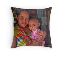The sarong saleswoman and her baby Throw Pillow
