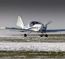 Snowy take-off by Tony Roddam