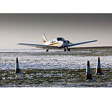 PA28 take-off run in snow Photographic Print
