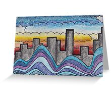 Clouds, Water, City. Greeting Card