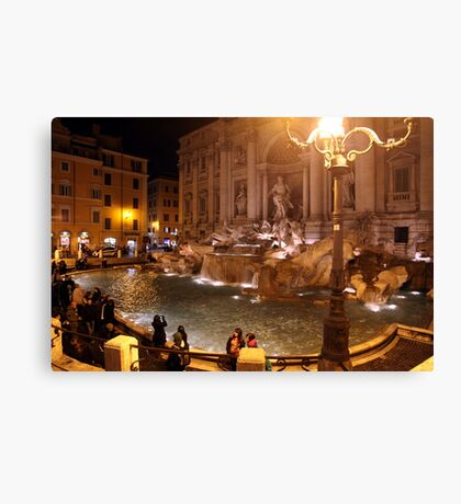 Trevi Fountain at night Canvas Print
