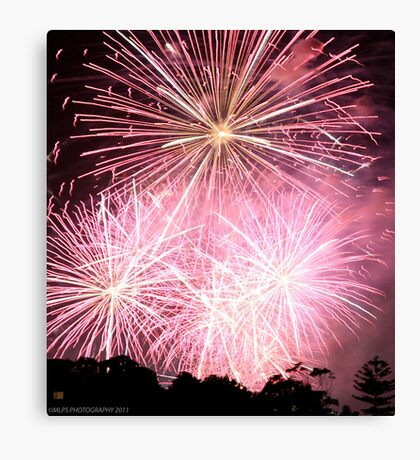 NYE Pink FIreworks Canvas Print