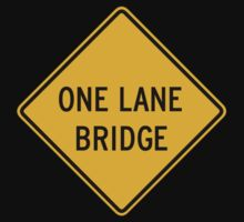One-Lane Bridge (I), Traffic Warning Sign, USA Kids Tee