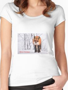 Christmas Fox Women's Fitted Scoop T-Shirt