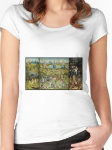 The Garden of Earthly Delights by Hieronymus Bosch (1480-1505) Women's Fitted Scoop T-Shirt