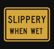 Slippery When Wet, Traffic Warning Sign, USA Kids Tee