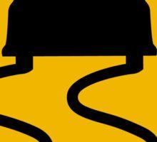 Car Slippery When Wet, Traffic Warning Sign, USA Sticker